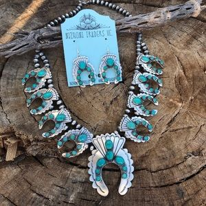 Gorgeous Sterling Silver Turquoise Squash Set